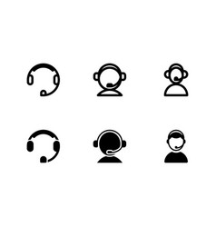 set of call center icon with outline and glyph vector image
