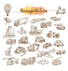 set of means of transport doodle sketch vector image