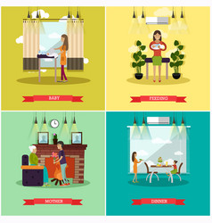 set of mother concept posters in flat style vector image
