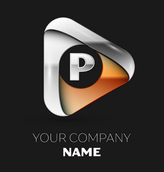 silver letter p logo in golden-silver triangle vector image