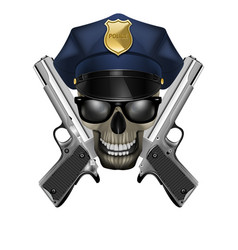 skull with sunglasses in a police cap and silver vector image