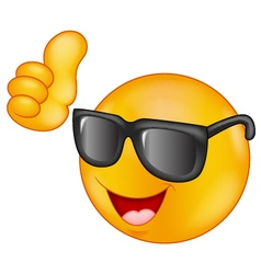 Smiling emoticon wearing sunglasses giving thumb u vector image