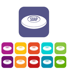 Soap icons set flat vector