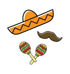 Sombrero maracas and mustache vector
