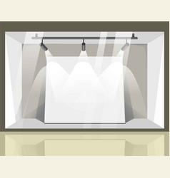 Store spacious showcase with bright spotlights vector