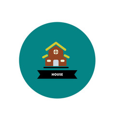 Stylish icon in color circle building house vector