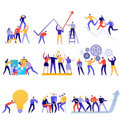 Teamwork flat colorful set vector