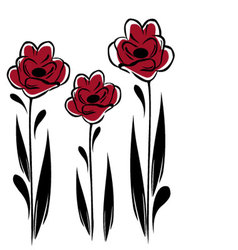 three red flowers vector image