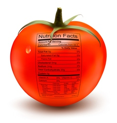 Tomato with a nutrition facts label Concept of vector