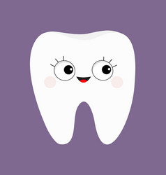 Tooth icon big eyes with eyelashes cute funny vector