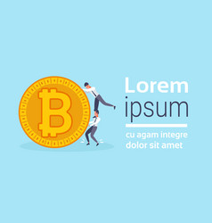 two businessmen pushing golden bitcoin crypto vector image