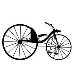 victorian old retro bicycle silhouette isolated vector image