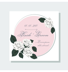 Wedding invitation with roses vector