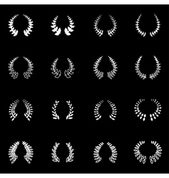white laurel wreaths icon set vector image