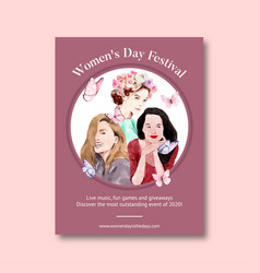 Women day poster design with flower person long vector