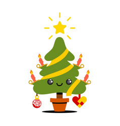 X-mas tree kawaii style vector