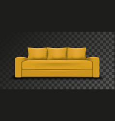 yellow sofa on transparent background vector image