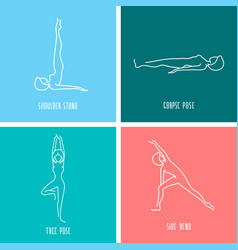Yoga icon linear set vector