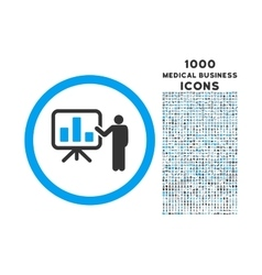 Bar Chart Presentation Rounded Icon with 1000 vector image vector image