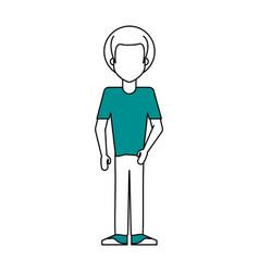 faceless man wearing t shirt icon image vector image