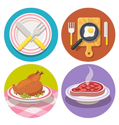 food and dish icons in flat design vector image vector image