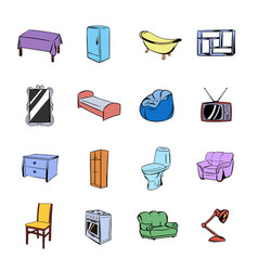 furniture icons set cartoon vector image