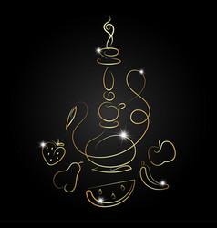 hookah with fruit golden silhouette vector image