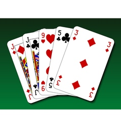 Poker hand - One pair vector image vector image