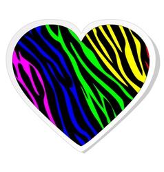 Rainbow zebra heart sticker vector image vector image