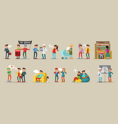 smoking people collection vector image vector image
