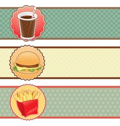 Banners fast food with cola hamburger and fries vector image vector image