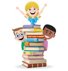 books and kids vector image