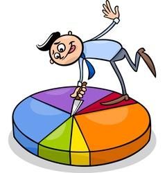 businessman on circle chart cartoon vector image