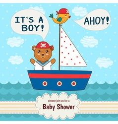 Cute baby shower invitation card It s a boy vector image