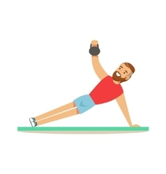 Man Doing Plank Exercise With Additional Weight vector image vector image