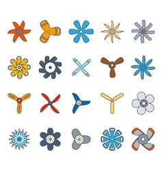 Propeller and paddle flat icons vector image