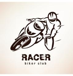 racer sport bike symbol motorcycle emblem vector image