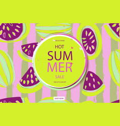 summer sale in watermelon background vector image vector image