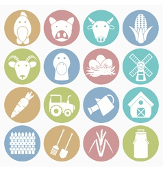 white icons farm vector image vector image