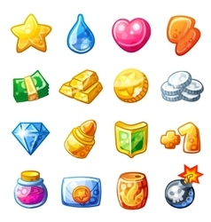 Cartoon resource icons for game user interface vector image vector image