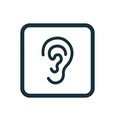ear icon Rounded squares button vector image vector image