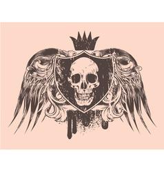 grunge t-shirt design with skull vector image