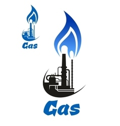 Industrial factory with blue flame on pipes vector image vector image