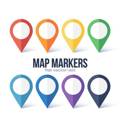 map markers rainbow colors set isolated on vector image