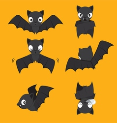 Set Of Bat Cartoon With Different Actions vector image