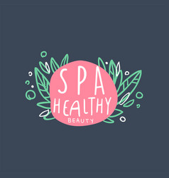spa healthy and beauty logo badge for wellness vector image vector image