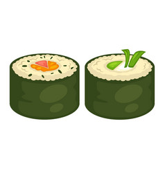 sushi rolls flat icons for japanese cuisine vector image vector image