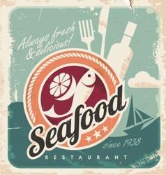 Vintage poster for seafood restaurant vector image vector image