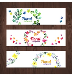 Watercolor invitation card with floral bouquet vector image