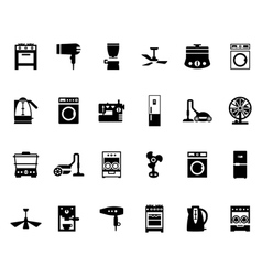 Domestic equipment black and white icons vector